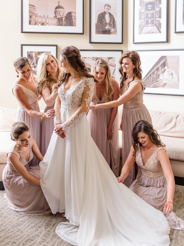 Elegant Simple V-neck Floor-length Chiffon Wedding Party Dresses Long Bridesmaid Dresses.DB10699