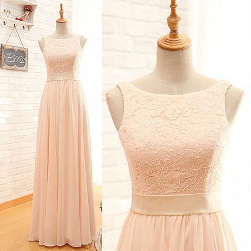 Vintage Long Column  Lace Top Bateau Neck Sleeveless Blush Pink Zipper Back Maxi Bridesmaid Dresses, WG15