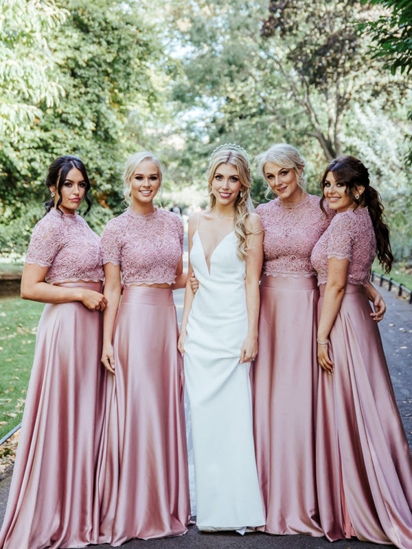 Best Scoop Neck Short Sleeve Two-piece Lace Satin Evening Dresses Party Long Bridesmaid Dresses.DB10657