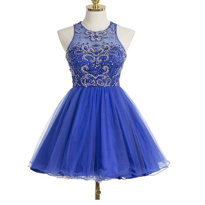 Sexy Royal Blue Round Neckline Keyhole Back Halter Beads Knee Length Homecoming Prom Dresses, CM0021