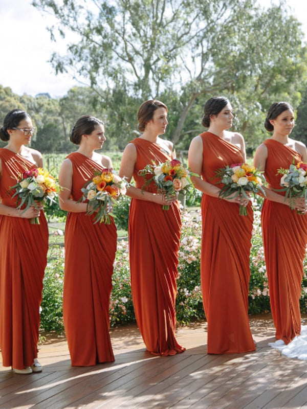 Simple One Shoulder Floor-length Long Bridesmaid Dresses.DB10766