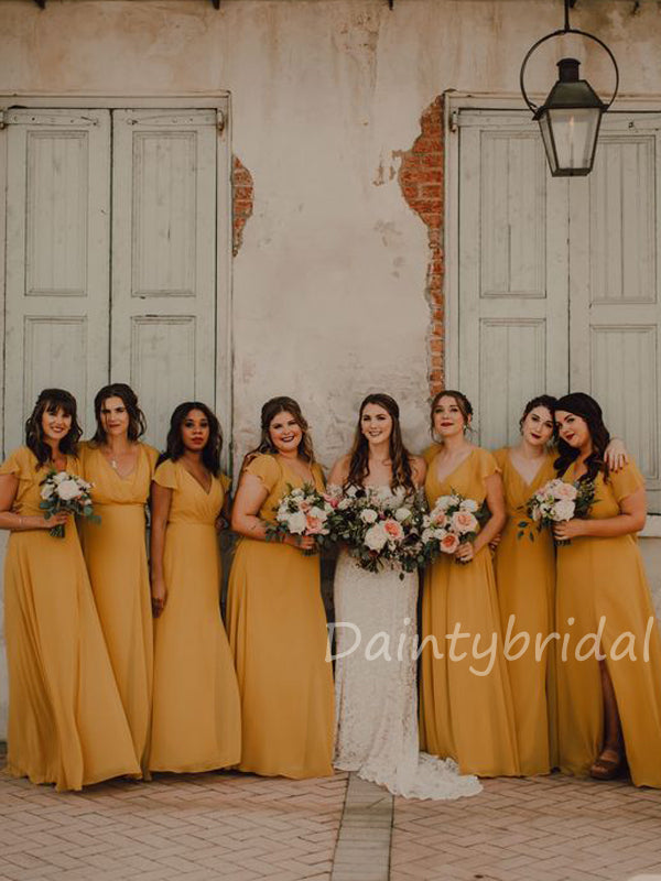 New Arrival V-neck Floor Length A-line Side Slit Long Bridesmaid Dresses.DB10429