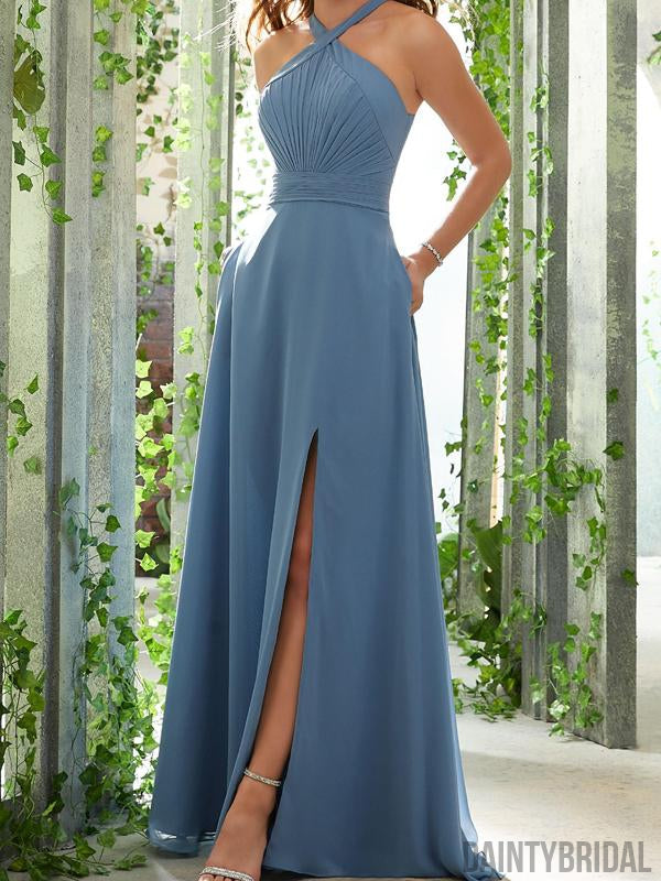 Halter A-line Sleeveless Slit Chiffon Long Prom Dresses,Evening Party Dresses.DB10219