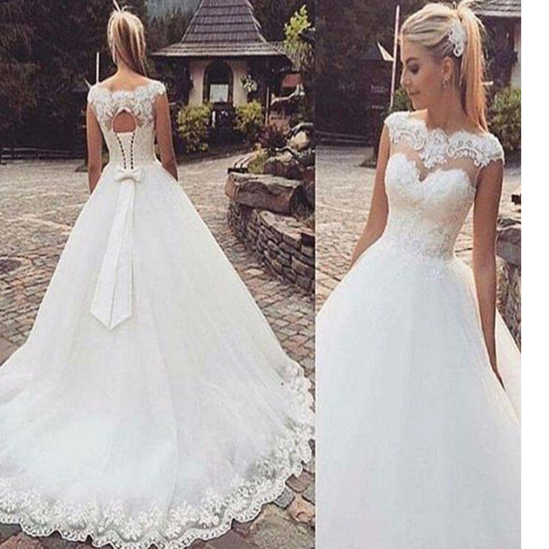 Sweetheart Cap Sleeve Clairvoyant Outfit Lace Elegant Bow Knot Ball Gown  Vintage Wedding Dresses. WD0220