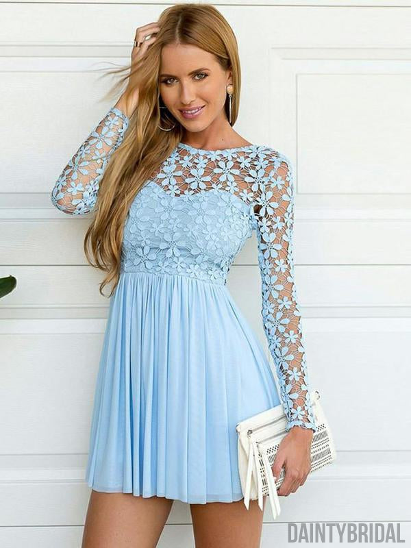 Affordable Chiffon Long Sleeves Illusion Neck Homecoming Dresses.BD10120