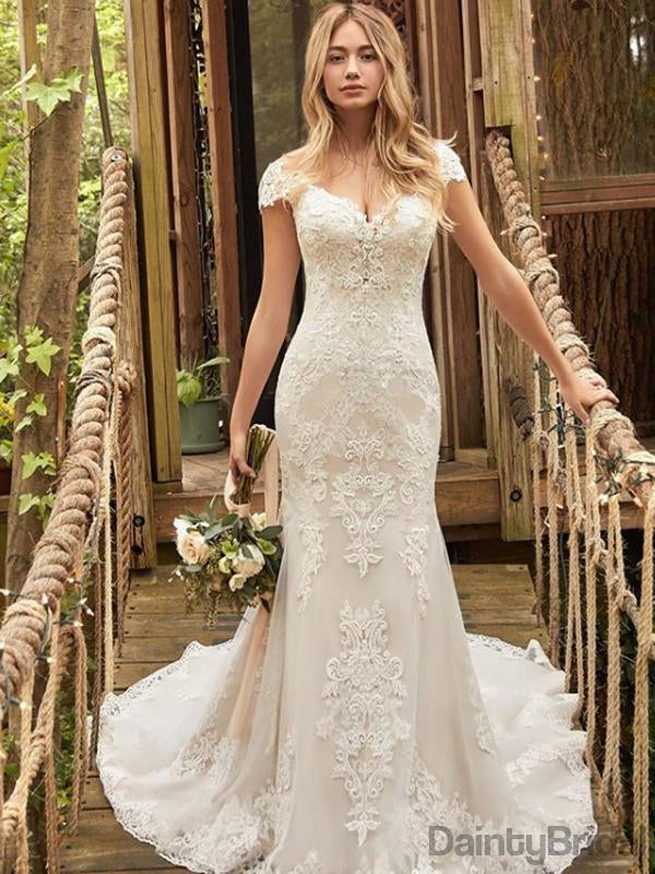 Elegant Lace Sexy V-Neck Mermaid Long Wedding Dresses With Train.DB10097