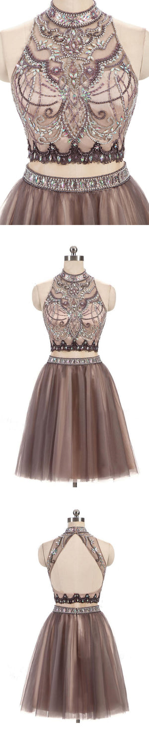 Two Pieces Gorgeous Beading High Neck Open Back Sleeveless Light Brown  Homecoming Prom Dresses,BD0142