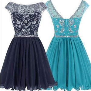 Short Cap Sleeve Sparkly Rhinestone  V-back Popular Junior Graduation  Homecoming Prom Dresses,PD0001