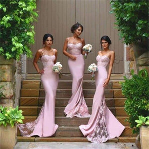 Sexy Mermaid Pink Spaghetti Straps Sweetheart Lace Appliques Sweep Trailing Bridesmaid Dresses ,PD0010