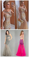 Popular Sparkly Rhinestone Charming Mermaid Sleeveless Unique Backless Evening Party Long Prom Dress,PD0100