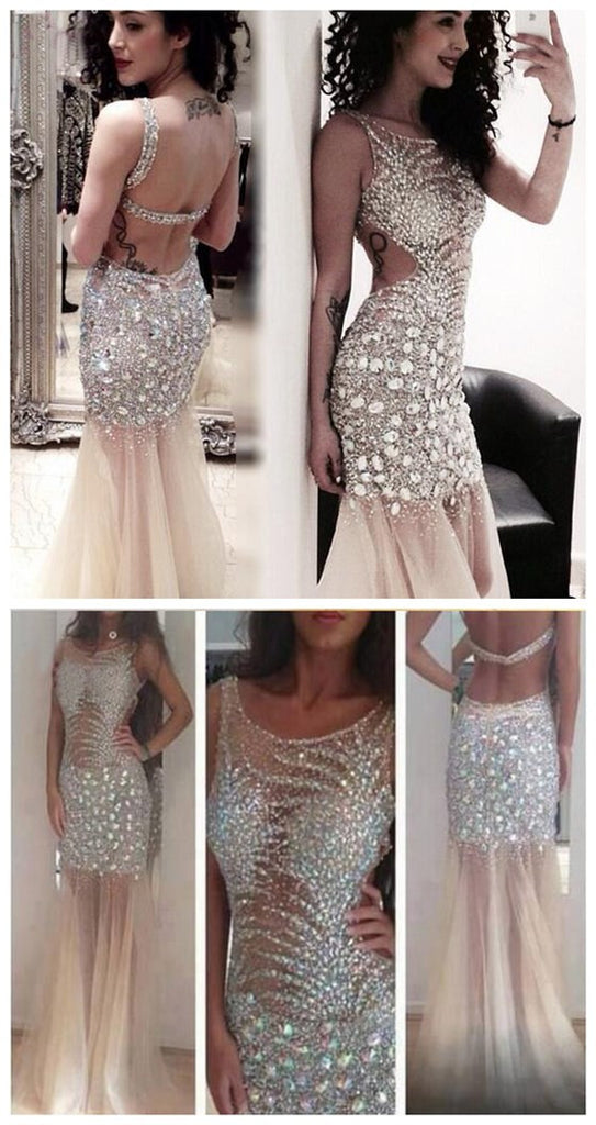 Long Sexy Sparkly Rhinestone Backless Mermaid Clairvoyant Outfit Tulle Evening Party Prom Dresses,PD0102