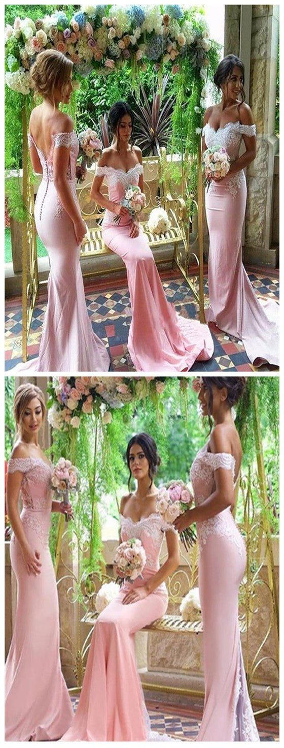 Popular Pink Mermaid Off Shoulder Lace Top Open V-back Chapel Trailing Wedding Party Bridesmaid Prom Dress, PD0011