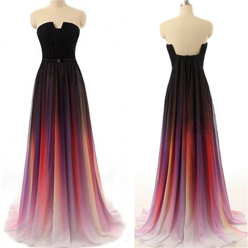 Long Cheap Colorful Gradient Notched Strapless Backless Chiffon Evening Party Prom Dresses,PD0111