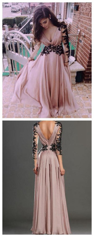 Long Sleeve V-neck Open Unique Back Black Lace Appliques  Dust Pink Chiffon Long A-line High School Prom Dress ,PD0112
