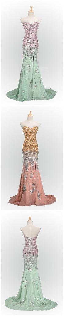 Sparkly Pink Mermaid Sweetheart Sequins Prom Dresses,PD0113