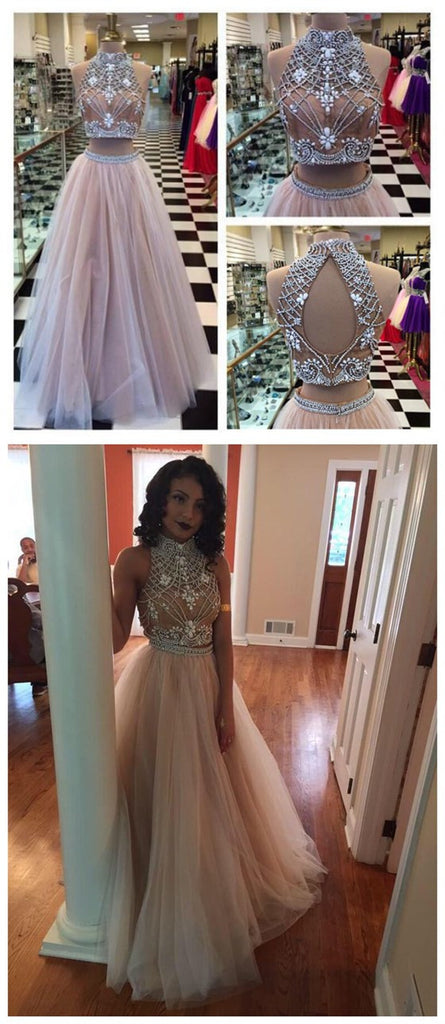 Elegant Two Pieces High Neck A-line Prom Dresses,PD0115