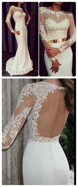 New Arrival Ivory Lace Long Sleeve Sexy Mermaid Charming Open Back Party Gown Prom Dress,PD0118