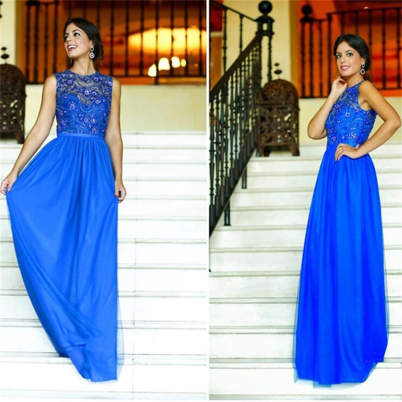 Elegant Long Column Royal Blue Sparkly Clairvoyant Outfit Rhinestone Top Sleeveless Charming  Prom Dresses,PD0120