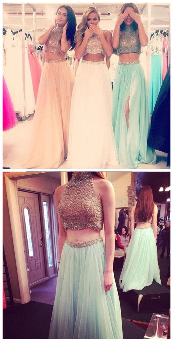 Elegant Two Pieces High Neck Side Slit Beading Top Sleeveless Long A-line Evening Party Prom Dresses,PD0124