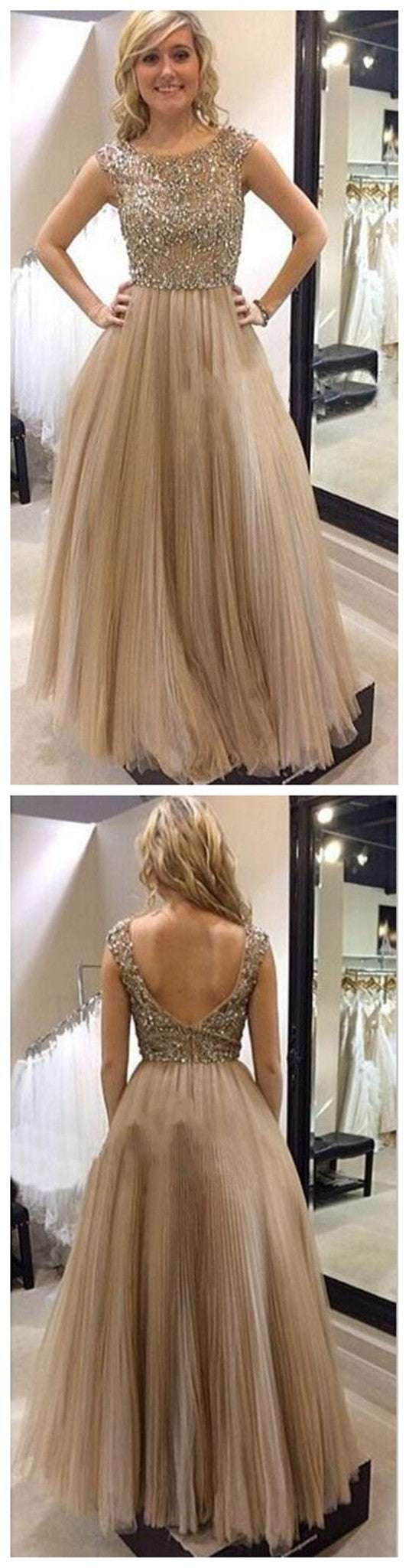 Long A-line Sequins Top Cap Sleeve Open Back Fashion Charming Newest Unique Prom Dresses,PD0135