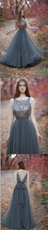 Long Popular Scoop Neck V-Back Sequined Ball Gown Casual Pretty A-line Evening Party Prom Dresses,PD0140