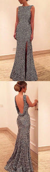 Long A-line Sparkly Sliver Sequins Split Side Sexy Elegant Charming Cowl Backless Evening Prom Dress, PD0142