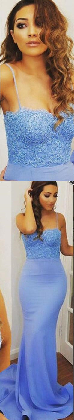 Long Spaghetti Straps Sweetheart Mermaid Blue Lace Top Sweep Trailing Sexy Cocktail Prom Dresses,PD0151