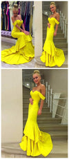 Simple Long Yellow Ruffles Mermaid Off Shoulder Sweetheart Evening Party Gown  Prom Dresses,PD0162