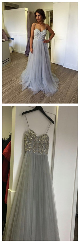 Long A-line Spaghetti Strap Gray Lace Beading Tulle Sweetheart Charming Prom Gown Dresses,PD0166