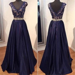 Long Navy Blue Lace Appliques V-neck A-line Elegant Cap Sleeve Evening Party Formal  Prom Dress,PD0176