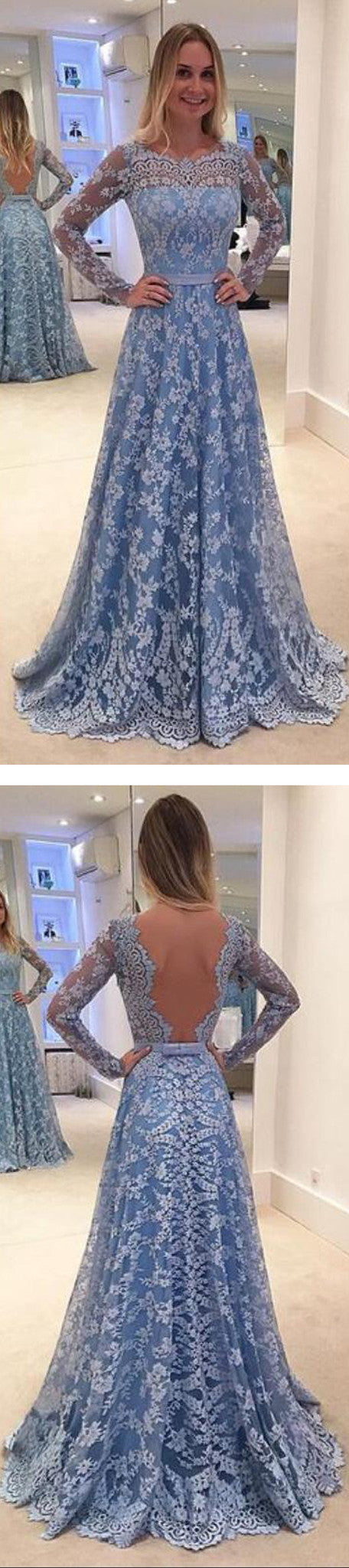 Elegant Long Sleeve Blue Full Lace A-line Open Back Cocktail Evening Party Vintage Prom Dresses,DB0182