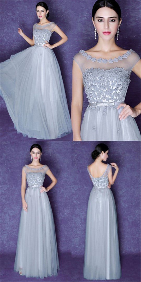 Popular Scoop Gray Lace Top Tulle Beauty A-line Elegant Bridesmaid Evening Party Prom Dresses,PD0183