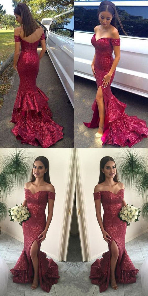 New Arrival Red Sequined Off Shoulder Ruffles Mermaid Sexy Split Side Evening Party Prom Dresses, PD0184