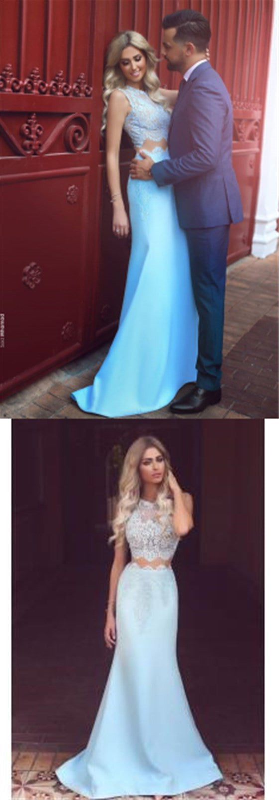 Fashion Two Pieces Sleeveless Mermaid Elegant Lace Charming Evening Long Prom Dresses, PD0190