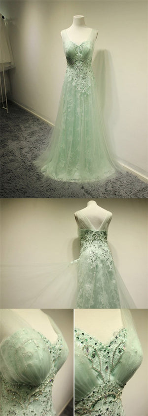 Long A-line Sage Tulle Beading Lace Sweetheart Sleeveless Unique Elegant Party Prom Dresses,PD0193