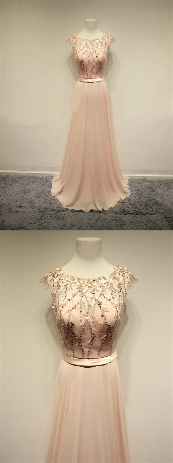 Popular Blush Pink Cap Sleeve Chiffon Beading Lovely Round Neck Evening Party Prom Dress. PD0194
