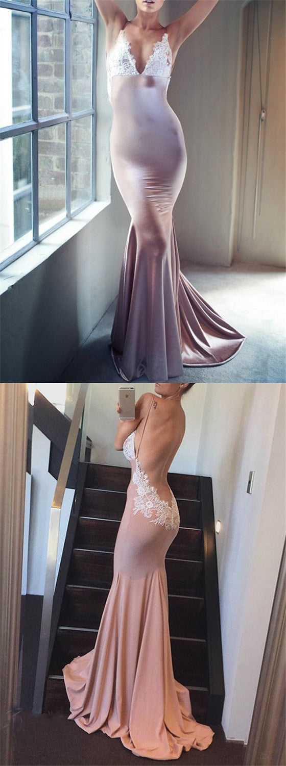 Long Mermaid Spaghetti Straps Backless V-neck Appliques Sexy Evening Party Prom Dresses,PD0195
