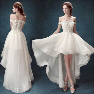 Popular High Low Off Shoulder White Organza Cheap Cocktail Formal Prom Dresses Wedding dresses,PD0197