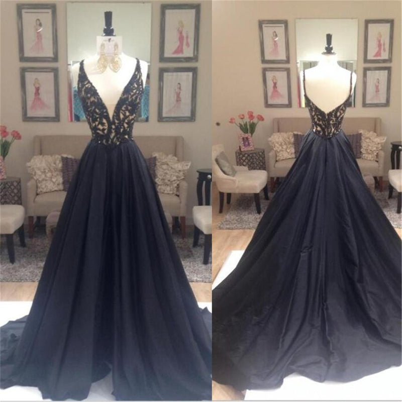 Popular Long  A-line Deep V-neck  Elegant Spaghetti Strap Black Lace Top Evening Party Prom Dresses,PD0198