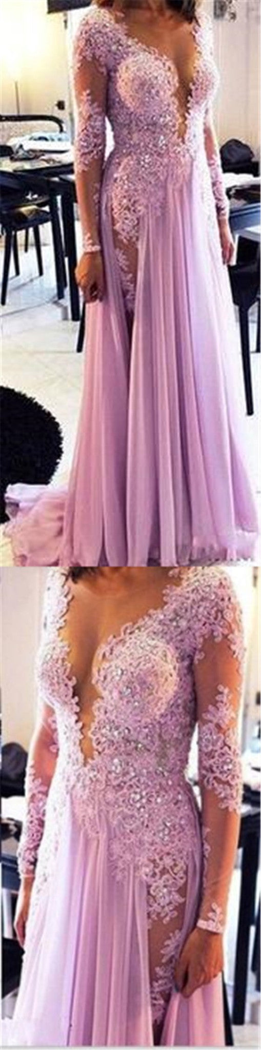 Long Sleeve Lilac Clairvoyant Outfit Lace Rhinestone Sexy Deep V-neck Evening Party Long Prom Dresses ,PD0199