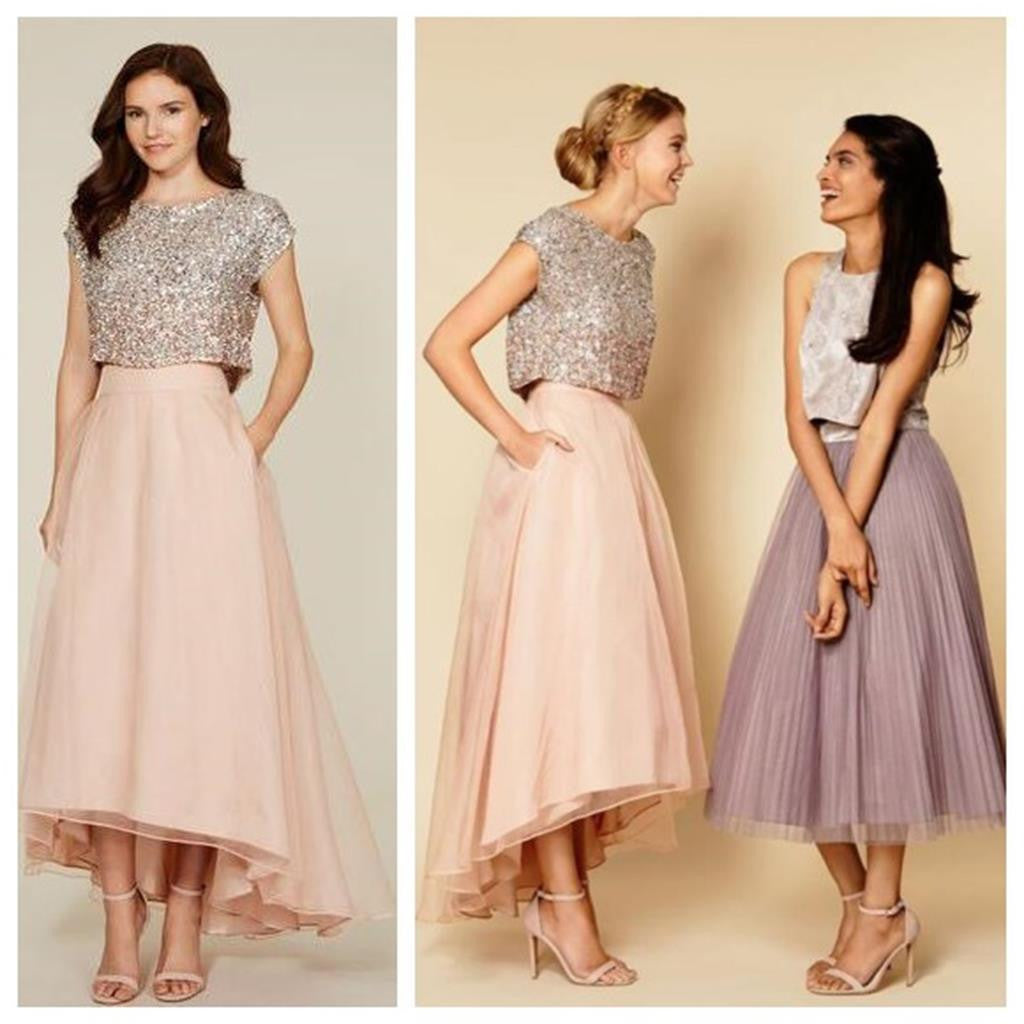 Short Sleeve Sequins Tea Length Vintage High Low Unique Style Freshman Bridesmaid Prom Dress, PD0022