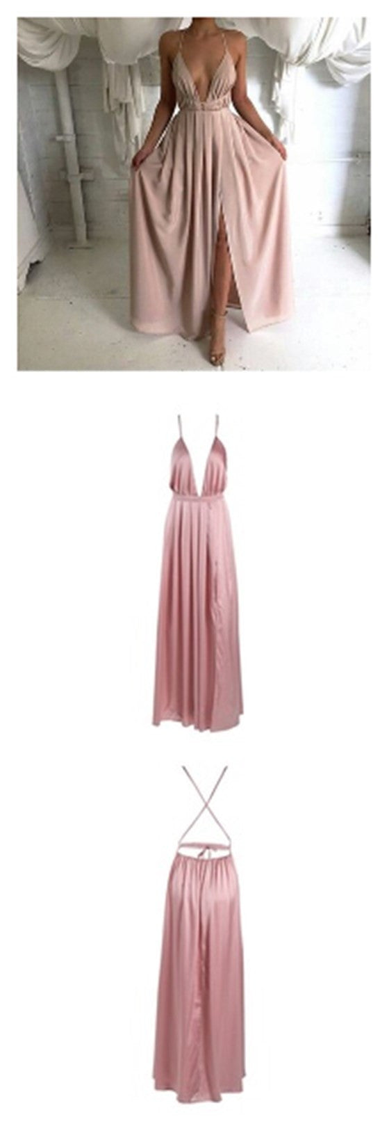 Long Spaghetti Strap Deep V-neck High Split Side Backless Sleeveless Popular Tie Prom Dress,PD0024