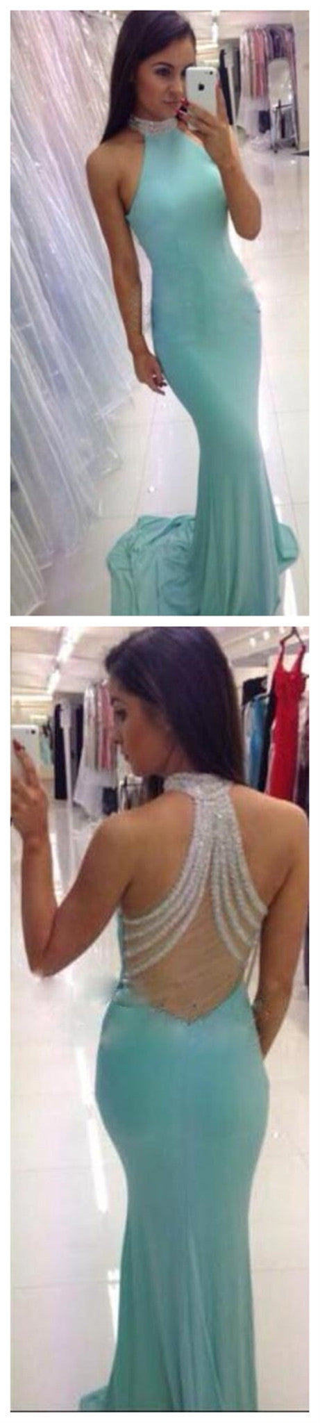 Popular High Neck Mermaid Tiffany Blue Unique Beading Back Elegant Evening Party Prom Dress ,PD0030