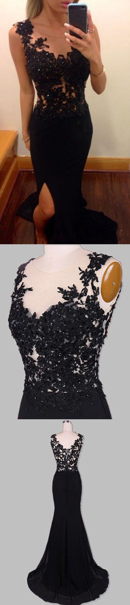 Long Black Lace Beading Top Slip Side Sexy Mermaid Open Back Casual Affordable Prom Dress,PD0031