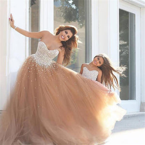 A-line Sweetheart Strapless Sequins Top Tulle Prom Dresses Custom Wedding Dresses, Flower Girl Dresses, WD0130