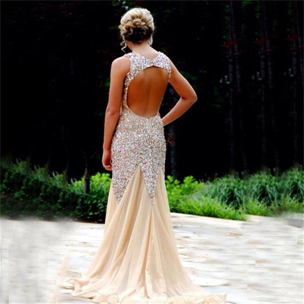 Long Sparkle Rhinestone Open Back V-neck Sleeveless  Mermaid Sexy Sweep Trailing Prom Dresses,PD0037