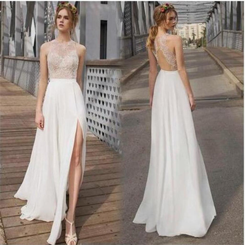 Cheap Popular Summer Beach Long Column Open Back Sexy Split Side Prom Dress  Wedding Dresses,