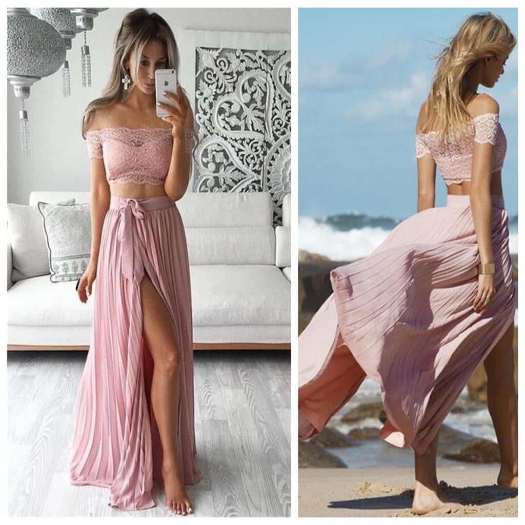 Long Two Pieces Off Shoulder Short Sleeve Side Split Sexy A-line Pink Lace Chiffon Prom Dress,PD0050