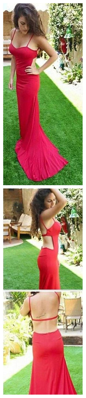 Cheap New Arrival Red Spaghetti Straps Sweetheart Unique Backless Evening Party Prom Dress,PD0064