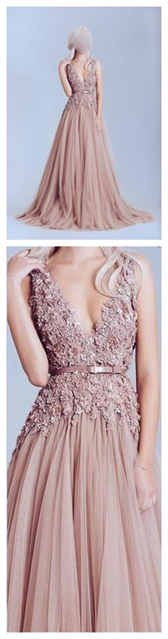 Dusty Pink Tulle Sleeveless Appliques Beading  Best Sale Elegant Long A-line Party Prom Dress. ,PD0066